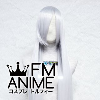 120cm Long Straight Silver White Cosplay Wig