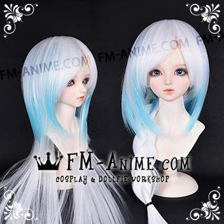 Medium Length Straight Two Layered White & Water Blue BJD Dolls Wig