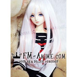 Medium Length Straight Slight Inward Curls White & Pink BJD Dolls Wig
