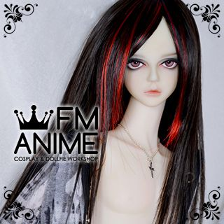 Medium Length Straight Black & Fire Red BJD Dolls Wig