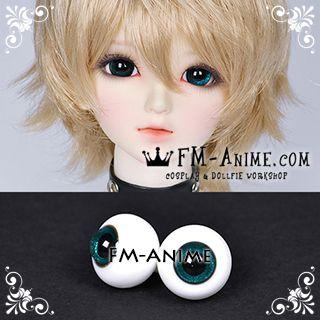 16mm Peacock Green Shiny & Black Pupil BJD Dolls Glass Eyes Eyeballs Accessories