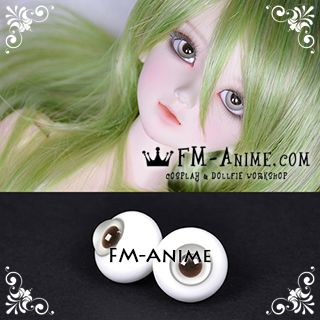 16mm Light Gray & Dark Brown Pupil BJD Dolls Glass Eyes Eyeballs Accessories