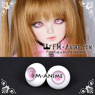 16mm Light Mist Pink Spiral & Pink Pupil BJD Dolls Glass Eyes Eyeballs Accessories (Slight Flaws)