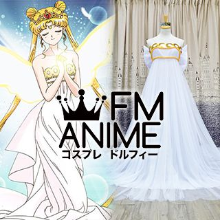 Sailor Moon Princess Serenity Dress Cosplay Costume Set with Accessories (Anime Version)