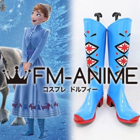 Olaf's Frozen Adventure Anna Cosplay Shoes Boots (Foot length 25cm)
