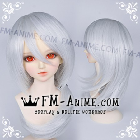 Medium Length Shag Hairstyle Silver White BJD Dolls Wig