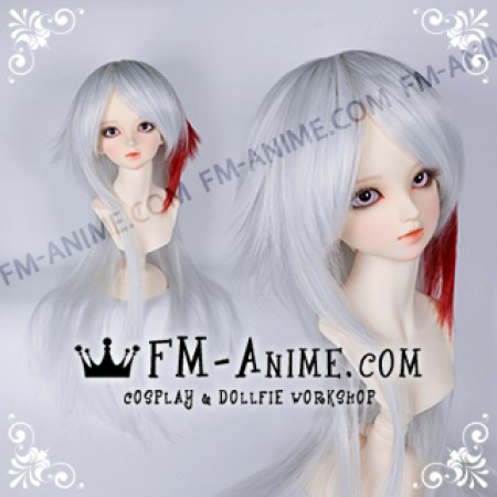 Medium Length Layered with Straight Ponytail Silver White & Dark Red BJD Dolls Wig