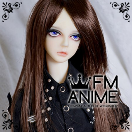 Medium Length Straight Black Brown BJD Dolls Wig