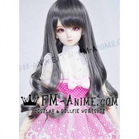 Medium Length Wavy Smoky Gray BJD Dolls Wig