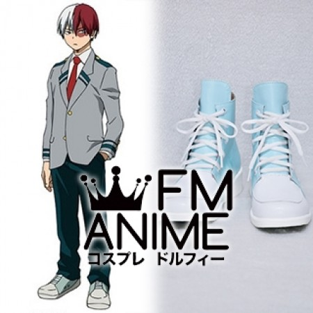 My Hero Academia Shoto Todoroki Uniform Blue White Cosplay Shoes Boots