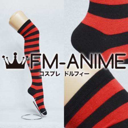 15eab2fa7ee Red   Black Over Knee Thigh High Striped Socks Fashion Cosplay Anime Lolita  Punk Free Shipping