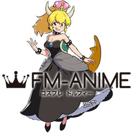 Super Mario Bowsette Koopa-hime Long Dress Cosplay Costume