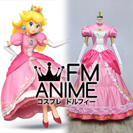 Super Mario / Super Smash Bros. 4 Princess Peach Pink Dress Cosplay Costume