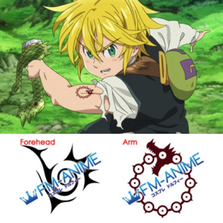The Seven Deadly Sins Meliodas Cosplay Tattoo Stickers