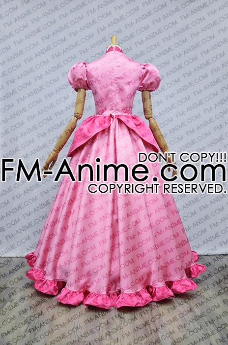 Super Mario Princess Peach Pink Dress Cosplay Costume Super Mario