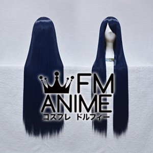 100cm Medium Length Straight Mixed Ink Blue Cosplay Wig
