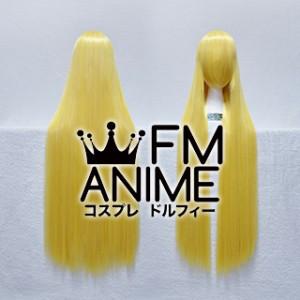 100cm Medium Length Straight Mixed Light Yellow Cosplay Wig