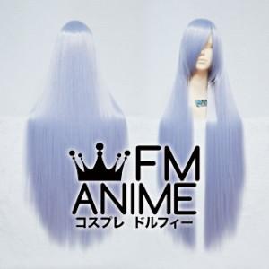 100cm Medium Length Straight Silver Blue Mixed Purple Cosplay Wig