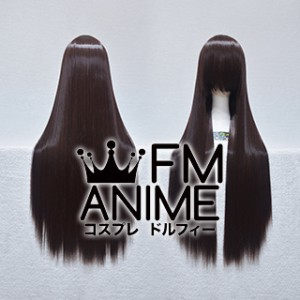 80cm Medium Length Straight Black Mixed Brown Cosplay Wig