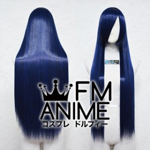 80cm Medium Length Straight Blue Mixed Black Cosplay Wig
