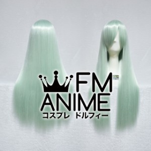 80cm Medium Length Straight Light Bluish Green Cosplay Wig
