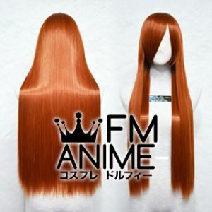 80cm Medium Length Straight Orange Mixed Brown Cosplay Wig