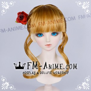 Umineko no Naku Koro ni Beatrice Mixed Gold Brown Cosplay BJD Dolls Wig