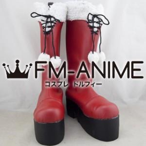 Date A Live Kurumi Tokisaki Christmas Cosplay Shoes Boots #B636 (Heel 5cm)