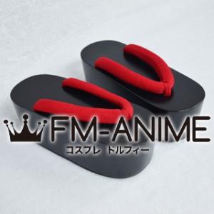 Bakemonogatari Tsukihi Araragi / Inu x Boku SS Ririchiyo Shirakiin Kimono Japanese Geta Wooden Sandals (Red / Blue)
