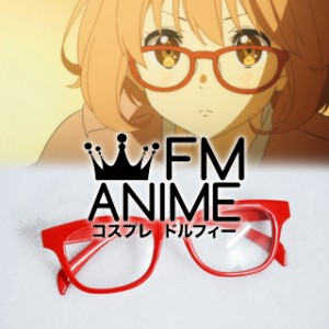 Beyond the Boundary Mirai Kuriyama Red Semicircle Frame Clear Lens Glasses Cosplay