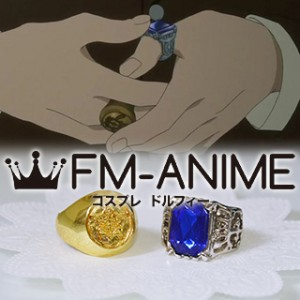 Black Butler Ciel Phantomhive Blue & Gold Metal Rings Cosplay Accessories
