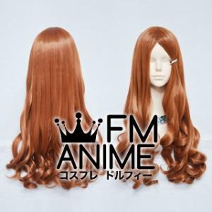 Medium Length Wavy Orange Mixed Brown Cosplay Wig (60cm Long Bang)