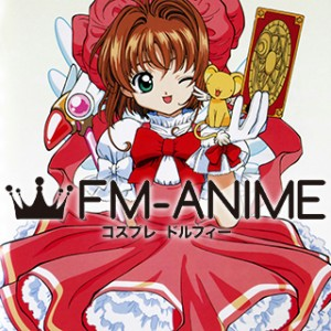 Cardcaptor Sakura Sakura Kinomoto Red White Dress Cosplay Costume