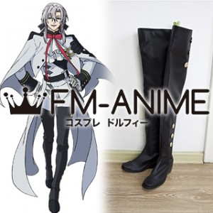 Seraph of the End Ferid Bathory Military Uniform Cosplay Shoes Boots #D244