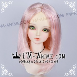 Long Bob Straight Middle Part Hairstyle Golden Pink BJD Dolls Wig