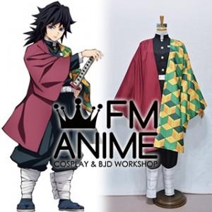 Demon Slayer: Kimetsu no Yaiba Giyu Tomioka Kimono Military Uniform Cosplay Costume (Female L)