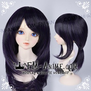 Medium Length Shag Hairstyle Mixed Dark Purple BJD Dolls Wig