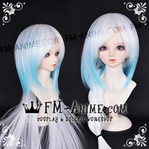 Medium Length Straight Two Layered White & Water Blue BJD Dolls Wig