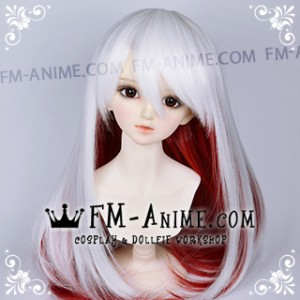 Medium Length Straight Slight Inward Curls White & Dark Red BJD Dolls Wig