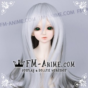 Medium Length Straight Slight Inward Curls Silver White & Smoky Gray BJD Dolls Wig
