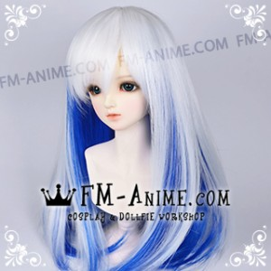 Medium Length Straight Slight Inward Curls White & Dark Blue BJD Dolls Wig