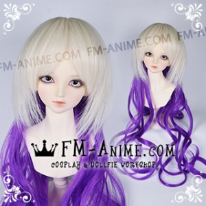 Long Wavy Two Layered Light Gold & Purple BJD Dolls Wig