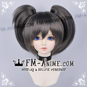 Short Clips on Twintails Smoky Gray Black Rock Shooter Mato Kuroi Cosplay BJD Dolls Wig