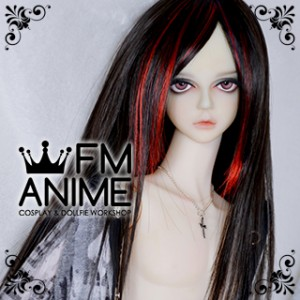 Medium Length Straight Black & Fire Red BJD Dolls Wig