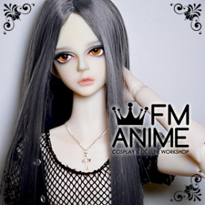 Long Straight Middle Part Hairstyle Smoky Gray BJD Dolls Wig