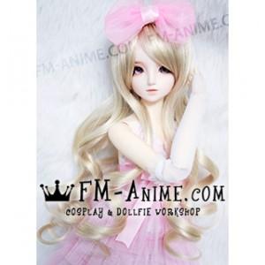 Medium Length Wavy Light Gold BJD Dolls Wig