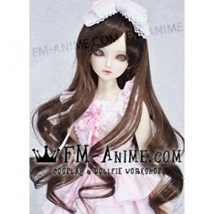 Medium Length Wavy Black Brown BJD Dolls Wig