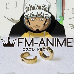 One Piece Trafalgar Law Gold Metal Earrings Cosplay Accessories