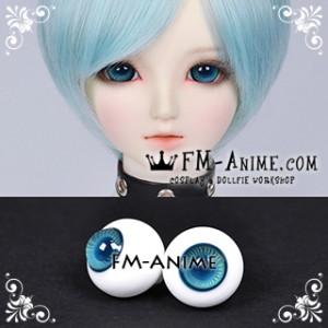 16mm Aqua Blue Yellow Stripe & Indigo Blue Pupil BJD Dolls Glass Eyes Eyeballs Accessories