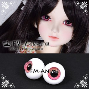 16mm Strawberry Pink Orange Spiral & Black Pupil BJD Dolls Glass Eyes Eyeballs Accessories